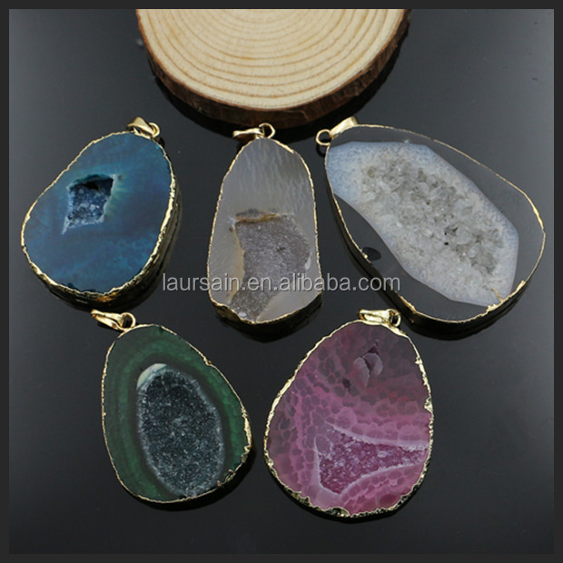 LS-D461 In stock!! Wholesales natural druzy agate pendant