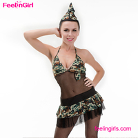 Free Shipping Transparent Camouflage Backless Hot Girl Army Sex Costume