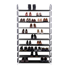 Simple Black 10-Tiers Shoe Rack, Space Saving Waterproof Shoe Organizer, Rack, Closet