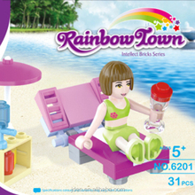 2015 Hot Selling Seaside Holiday Toy & Plastic Building Blocks Toys For Girl