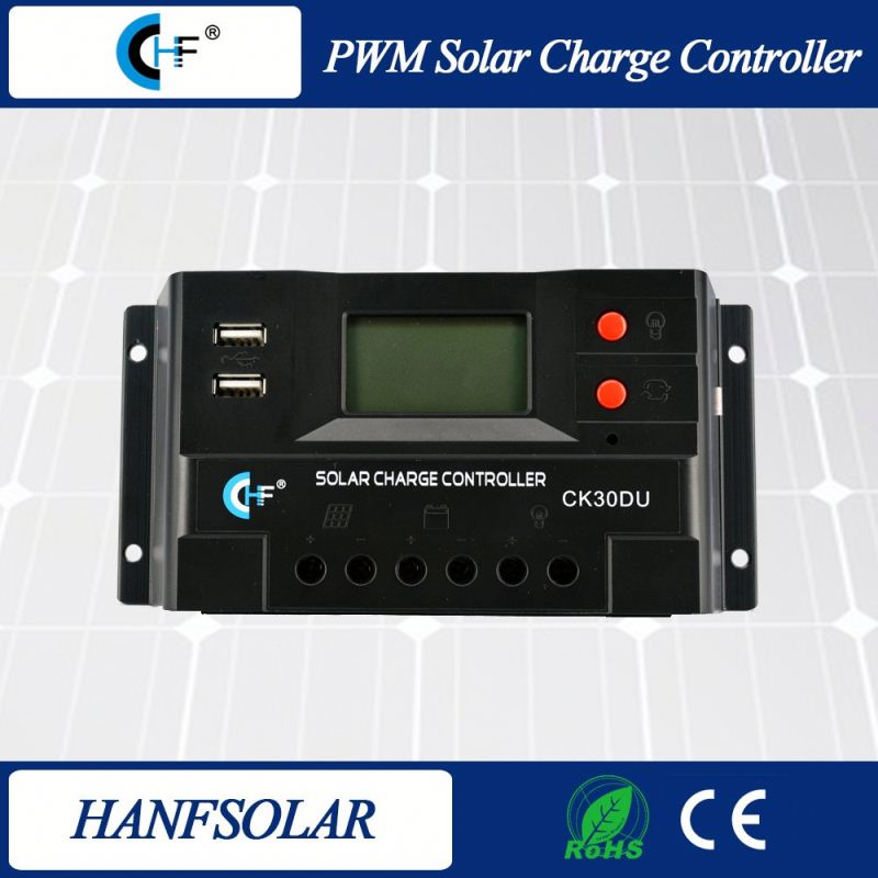 30A 12v 24v 48v CE approved PWM solar <strong>controller</strong> two USB port china manufactory