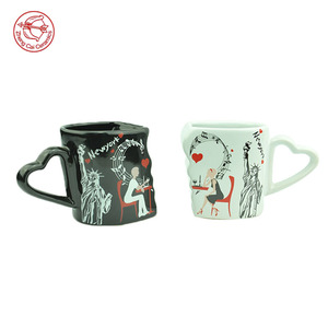 China supplier heart shape black and white ceramic couple coffee mug cup