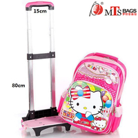 Cute hello pretty kitty cat cartoon backpack pink lace girls silent wheels children detachable trolley school bag