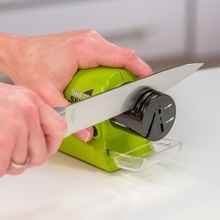 Mini Swifty Sharp Cordless household kitchen Electric scissor sharpener Knife Sharpener with Catch Tray