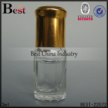 2015 Wholesale new euro style clear mini glass perfume bottle 3ml,custom made gold cap and roll on perfume bottle-hottest