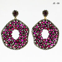 Handmade Rubies and Diamond Danglers / Earrings