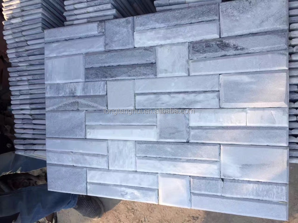 Natural White slate Stone Exterior Wall Brick Tiles