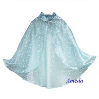 Girls Elsa Princess Deluxe Bling White Polka Dots Aqua Blue Cape Costume 2-8Y