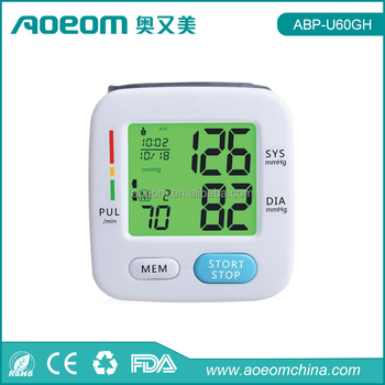 Newest WHO blood pressure classification three colors backlit digital wrist blood pressure monitor cuff