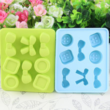 2017 new design custom food grade bowknot mold silicone ice cube tray