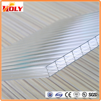 clear plastic roofing panels 16mm triple wall polycarbonate hollow sheet