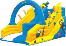 Crazy high quality colorful spongebob monster wave inflatable corkscrew water slide