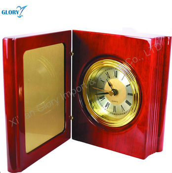 Foldable golden wood digital clock