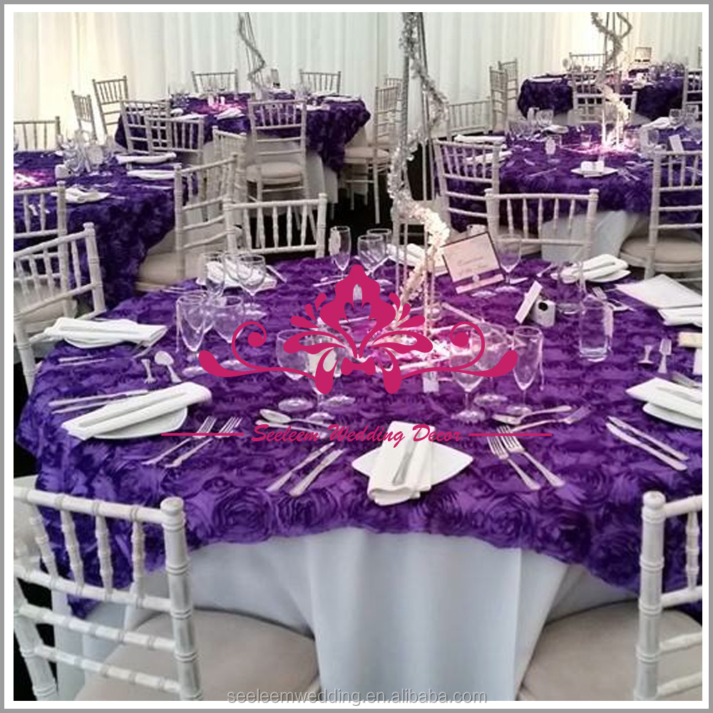 CRS001 Purple Satin Rose Wedding Embroidery Table Cloth