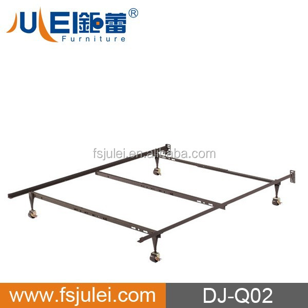 Heavy Duty Adjustable Metal Bed Frame with Center Support & Glides