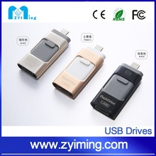 Zyiming 2016 newest flash drive otg usb 3 in 1 for iphone /androil mobile phone