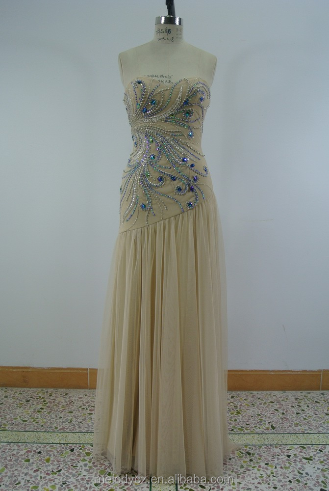 In-stock Items formal type fast delivery ruffle champagne color evening dress