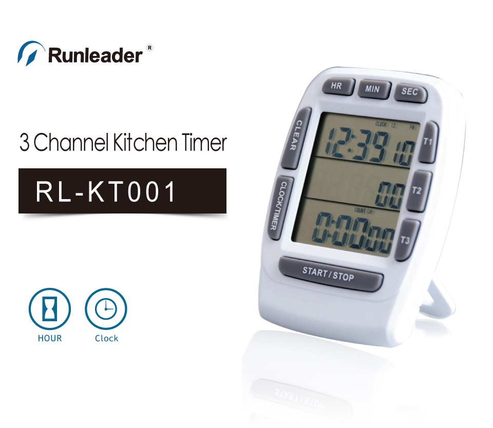 Kitchen timer 3 channel digital timer clock count up fridge magnet cook timer with buzzer