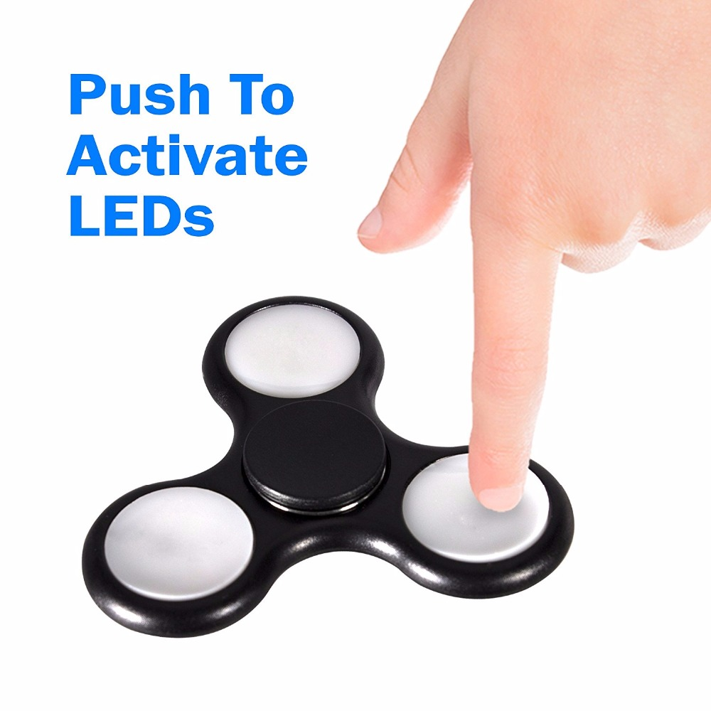 LED Tri Spinner Bearing Spinner Fidget Toy For ADHD EDC Stress Reducer Focus Toy