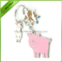 Wholesales lovely pink pig ,little sheep,veal animal promotional metal keychain