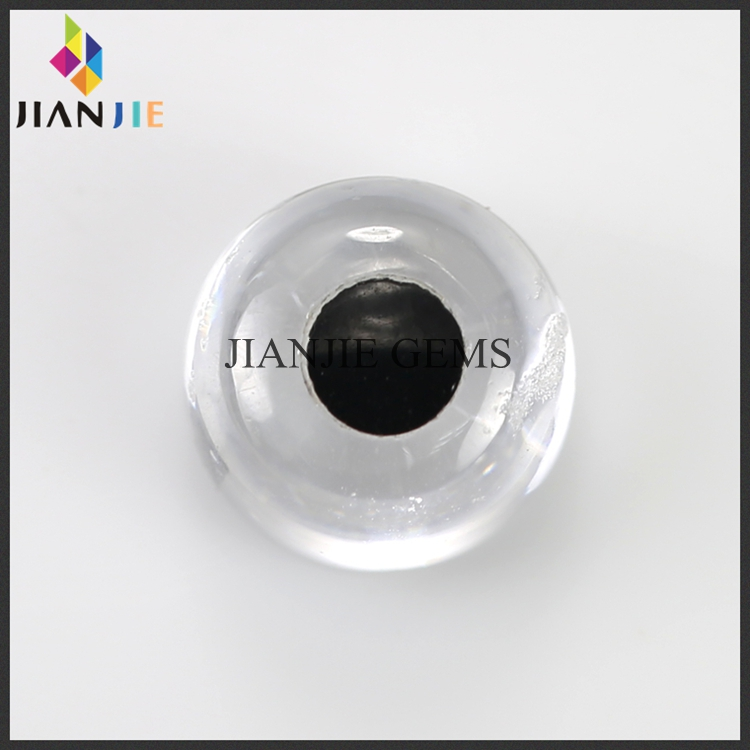 Factory Wholesale Price White and Black Eye CZ Synthetic Gem Cabochon Cut Cubic Zirconia Stone
