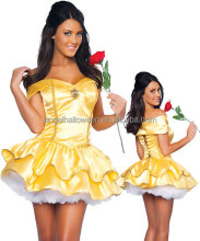 Beauty and The Beast Princess Belle Yellow Dress Made Coplay Costume AGC041