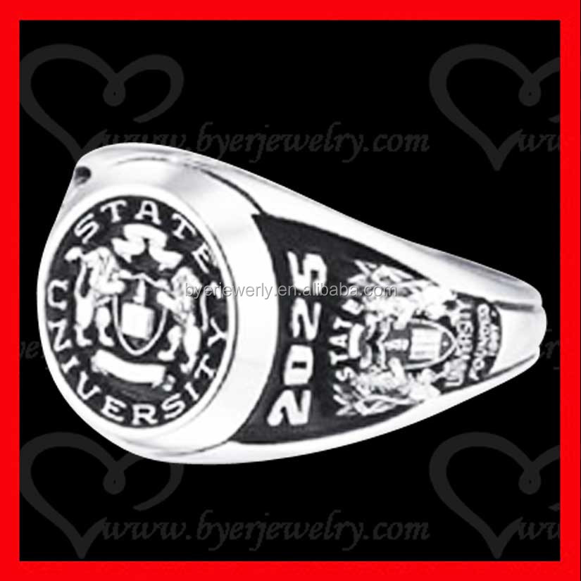 signet class ring black painting deep engraving