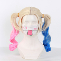 Suicide Squad Harley Quinn Multicolor Pontails Medium Length Cosplay Wig