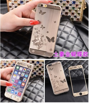 Luxury 3D electroplating tempered glass Flim + TPU Case For iPhone 6/6S