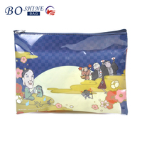 Custom Funny Clear PVC Travel Makeup Bag Cosmetic Bag With Zipper And Double Japan Cartoon Print For Girls