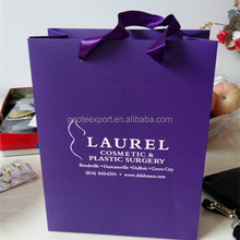 Purple Color Customized Laminated Euro Tote Paper Bag