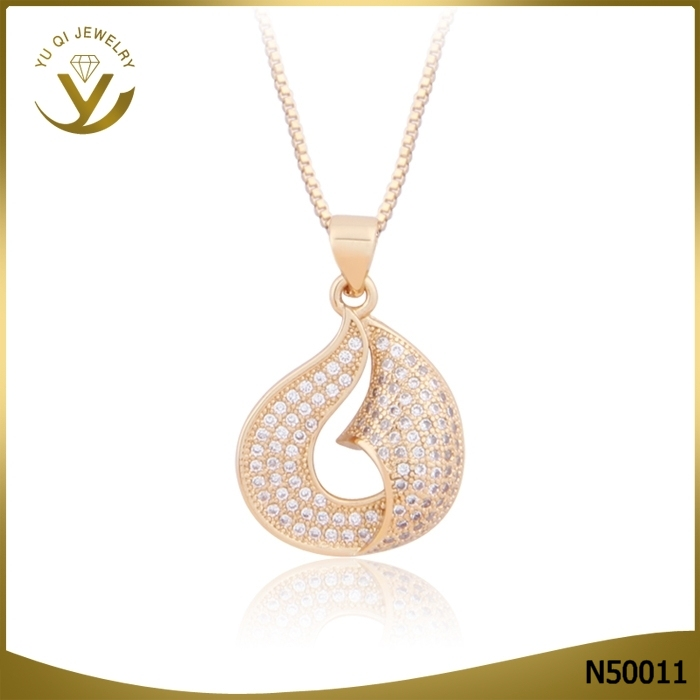 Fashion jewelry AAA zircon pendant 18K solid gold geometry pendant necklace for women
