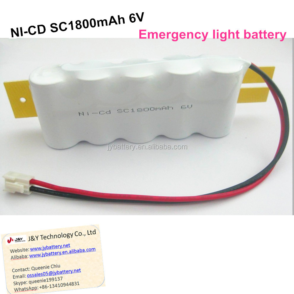 China manufacturer supply emergency light nicd sc1800mah 6v battery