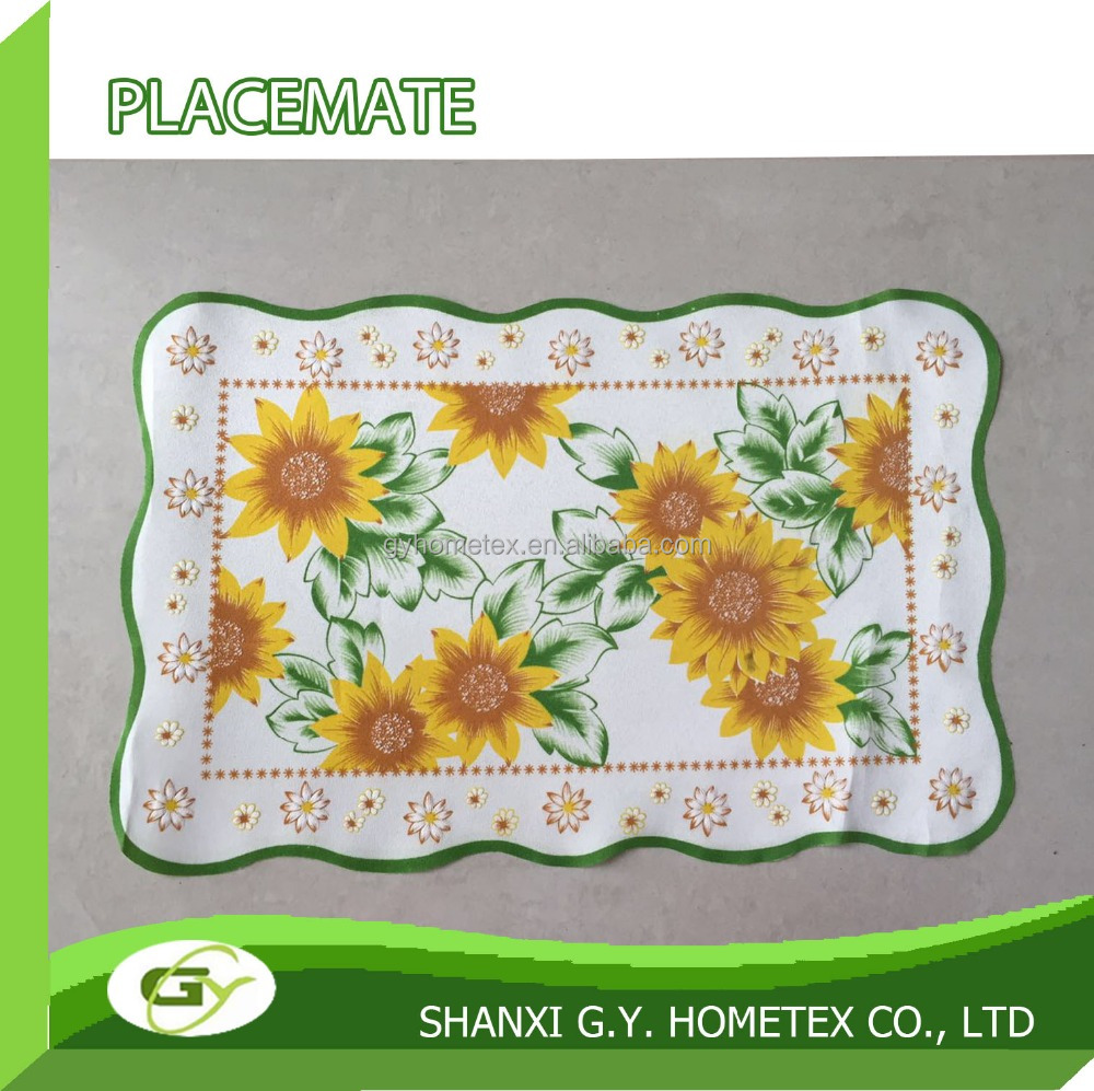 2016 100% polyester custom puff special NEW 3d sunflower printed placemat