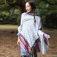 Outdoor Fashion National Wind Comfortable Scarves Large Printed Sunscreen Scarf Multi-functional Summer Air Conditioning Shawl