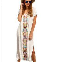 Wholesale embroidery smock long beach dress indonesia kaftan dress on holiday