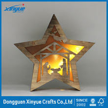 Light Up Wooden Star Christmas Room Decoration LED Battery Operated Ornament
