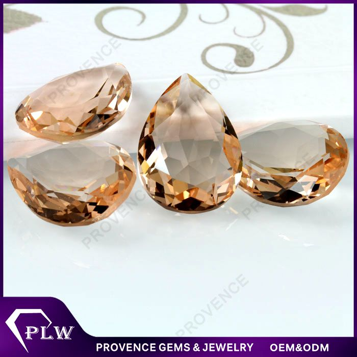 Synthetic decorative champagne color pear cut loose glass gems diamond