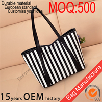 2016 Fashion branded woman cotton bags designer lady hand bag, custom large tote bag with stripe