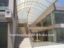 transparent curved laminated glass and tempered glass roof