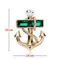 Gold Plated Anchor Vintage Emerald Crystal Brooch Pin Bouquet Yacht Sailing Sailor Boat Anchor Pin Brooch Jewelry
