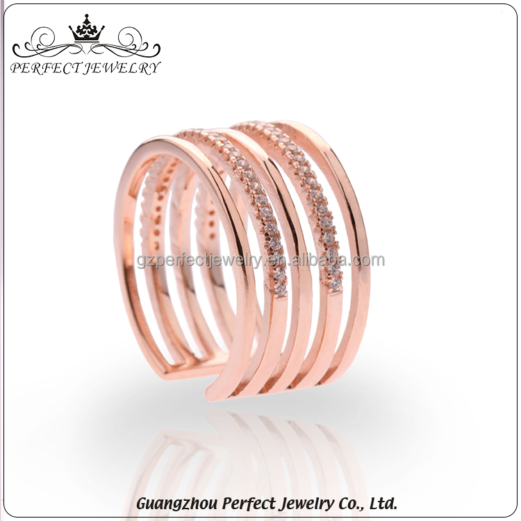 Professional Custom New Design Fashion Women Style S925 Silver Rose Gold Plated Charming Jewelry Ring