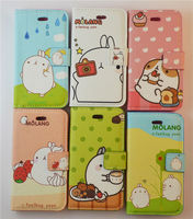 2013 new arrival molang case cute potato rabbit leather flip wallet case for iphone 4 4S
