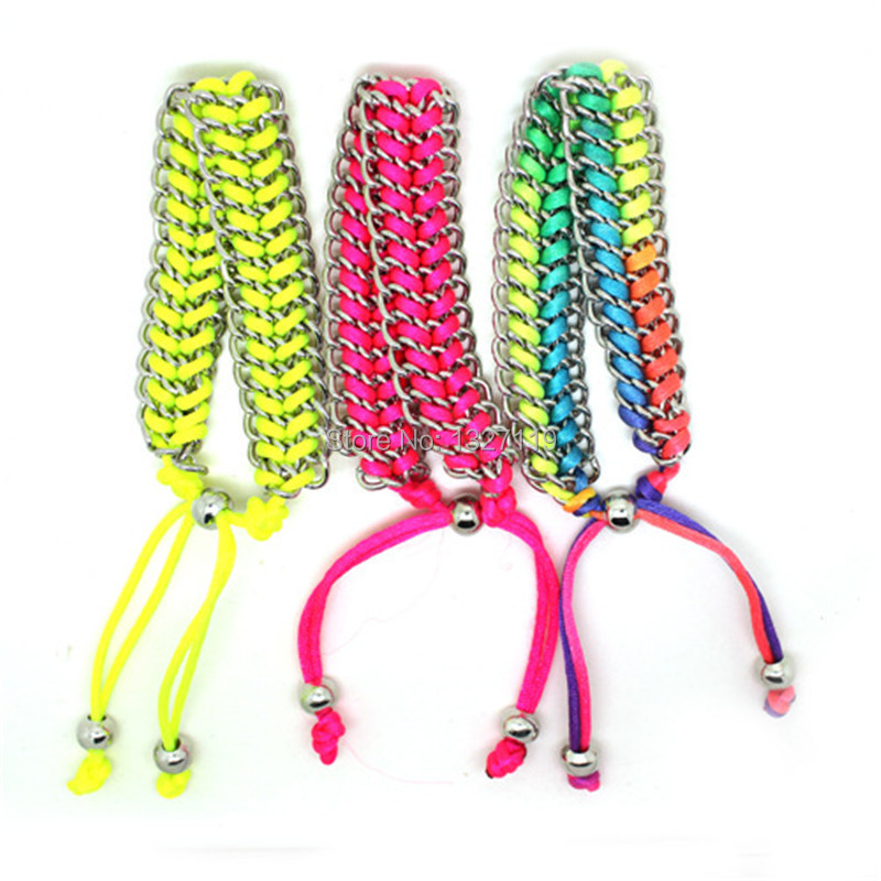 Hot sale and wholesale Candy color neon bracelet, alloy and rope twisted infinity bracelet free shipping