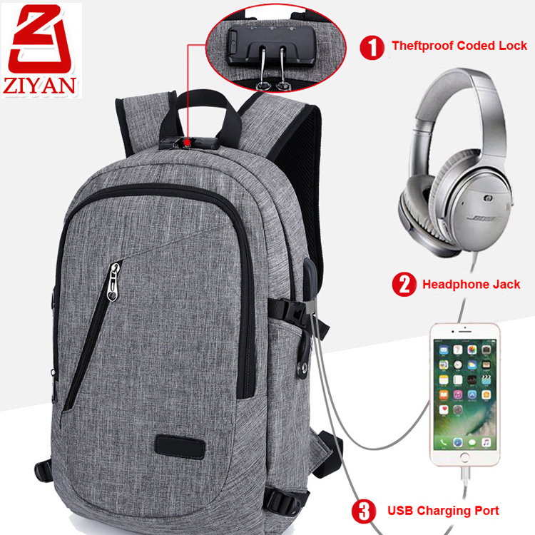 Multifunction business travel backpack computer bag waterproof phone charging anti theft USB laptop backpack with earphone hole