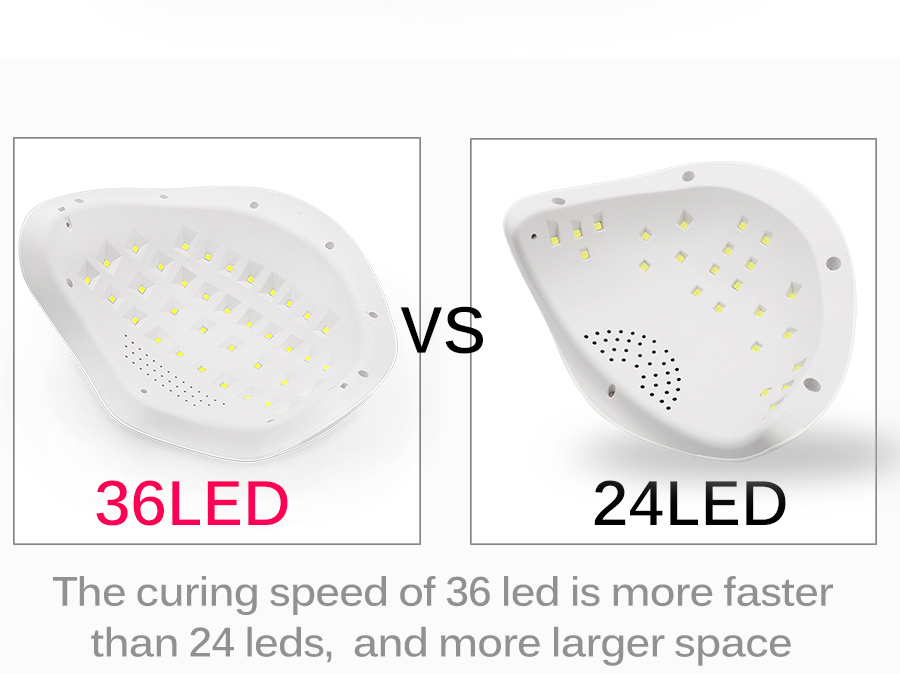 72W Largest Space Light Gel Polish Fast Curing With Smart Sensor UV LED Nail Lamp Nail dryer  For 2 Hands