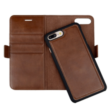Luxury detachable wallet stand cowhide leather mobile phone case for iPhone 8 plus