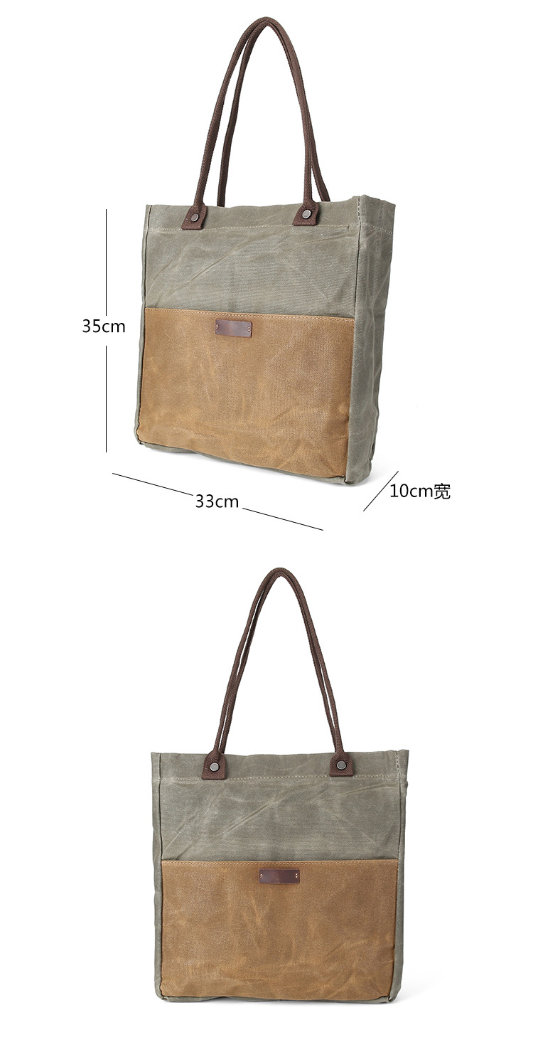 Wholesale high quality fashion women waxed canvas tote shopping hand bag handbag