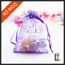 factory direct sale 15*20 cm small hot stamping butterfly organza drawstring pouch