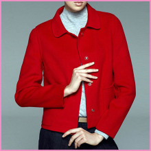 Korean ladies fashion wool blended lapel short style coat